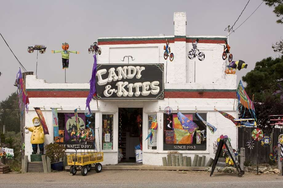BODEGA BAY: Colorful wind socks, windmills and kites adorn the front of Candy & Kites in Bodega Bay. Alfred Hitchcock filmed his horror classic \'The Birds\' in and around the Sonoma County town. (Drive time: 1.5 hours) 