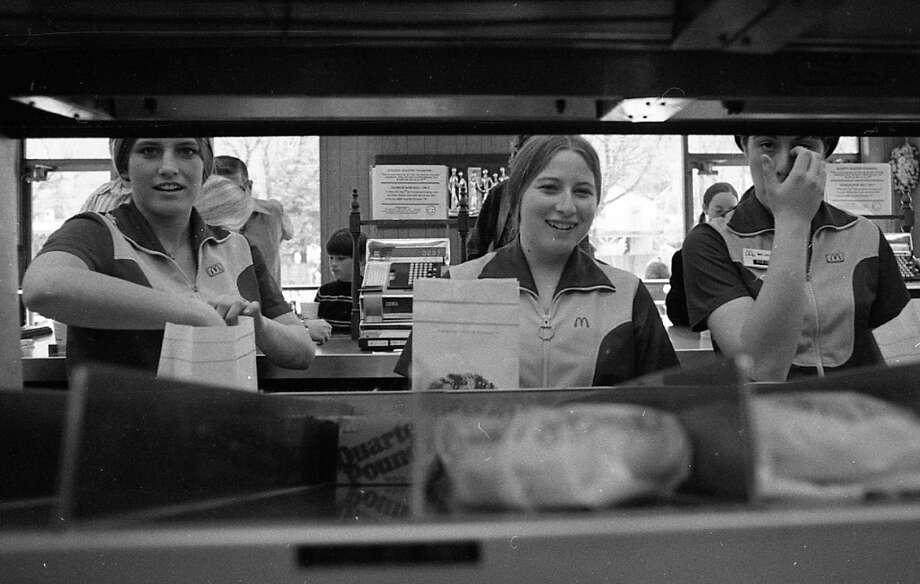 Feb. 27, 1973: Employees at the Mill Valley McDonald\'s. Look at how happy they are. These days, a higher percentage of fast food workers either look zombified or perpetually pissed off. Real McDonald\'s workers in 1973 looked like the 2013 TV commercial version of McDonald\'s workers. Photo: Stephanie Maze, The Chronicle / ONLINE_YES