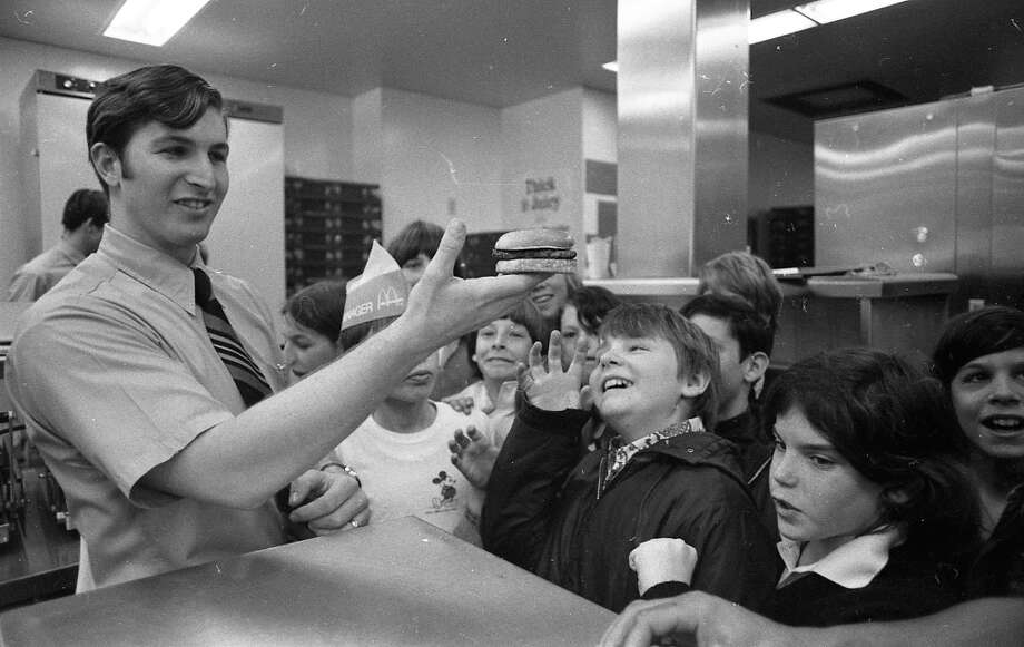 Feb. 27, 1973: A McDonald\'s manager entertains a kid named Vincent and his friends on his 11th birthday. How do I know his name was Vincent? It was written on his cake. (Yes, we have a photo of the cake ...) Apparently McDonald\'s in 1973 offered special toured birthday parties. Photo: Stephanie Maze, The Chronicle / ONLINE_YES