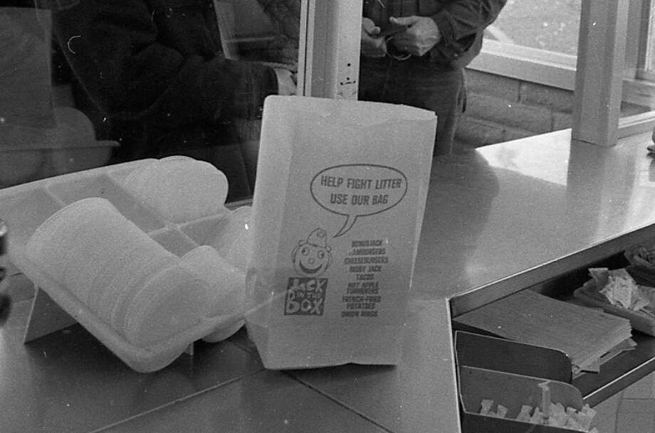 "Feb. 27, 1973: ""Help Fight Litter: Use Our Bag.\"" I laughed out loud when I saw that. Everyone in the Chronicle photo room stared at me. I can\'t for the life of me figure out in 2013 how using a bag is pro-environment. Now you carry your s--- with your hands or pay 10 cents. Photo: Stephanie Maze, The Chronicle / ONLINE_YES"