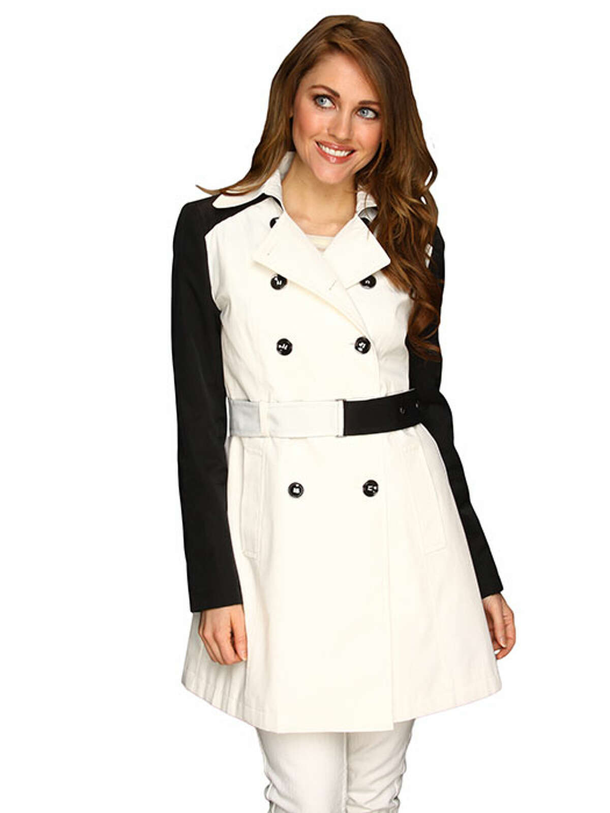 What do you get when you combine a classic silhouette and black and white color blocking? A thoroughly modern take on a jacket that's proven to work. DKNY Double Breasted Trench w/ Contrast Sleeve, $74.99, 6pm.