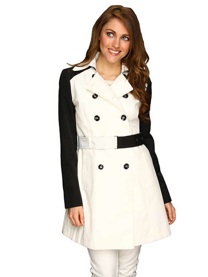 What do you get when you combine a classic silhouette and black and white color blocking? A thoroughly modern take on a jacket that's proven to work. DKNY Double Breasted Trench w/ Contrast Sleeve, $74.99, 6pm. Photo: 03, Contributed Photo