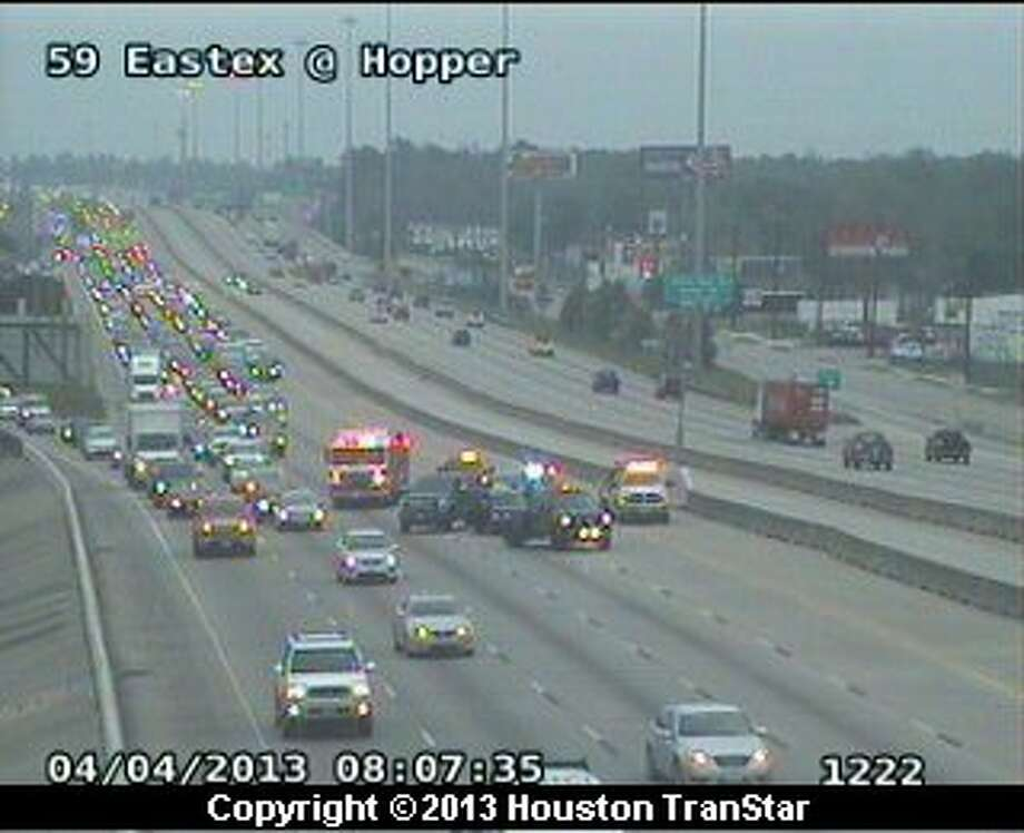Traffic was slowed after a crash on the Eastex Freeway near Hopper during rush hour Thursday morning. Photo: Houston Transtar