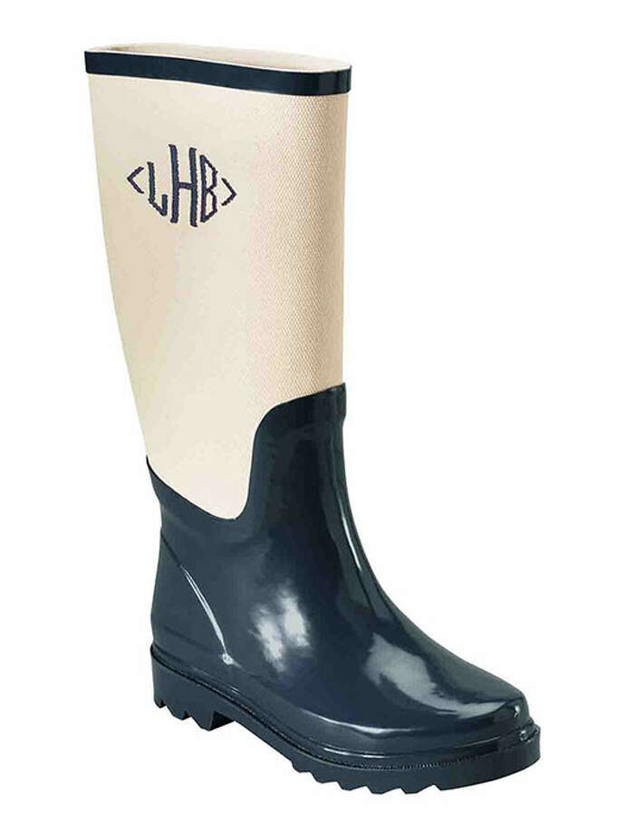 Thanks to a preppy monogram, you'll never worry about mixing up your boots with the others left in the hallway. Women's Canvas Shaft Wellies Shoes, $55, Land's End. Photo: Shared Camera #05, Contributed Photo