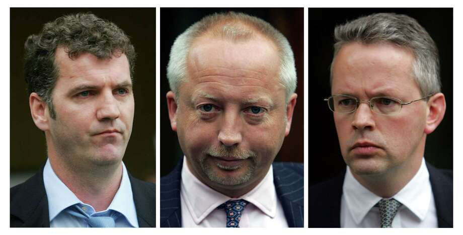 British former bankers (from left to right) Gary Mulgrew, Giles Darby, and David Bermingham pleaded guilty to misleading their former employer in an Andrew Fastow finance scheme. They each were sentenced to 3 years, 1 month. They are now out of prison, and as of 2011, they were self-employed. Photo: STEPHEN HIRD, REUTERS / X90028