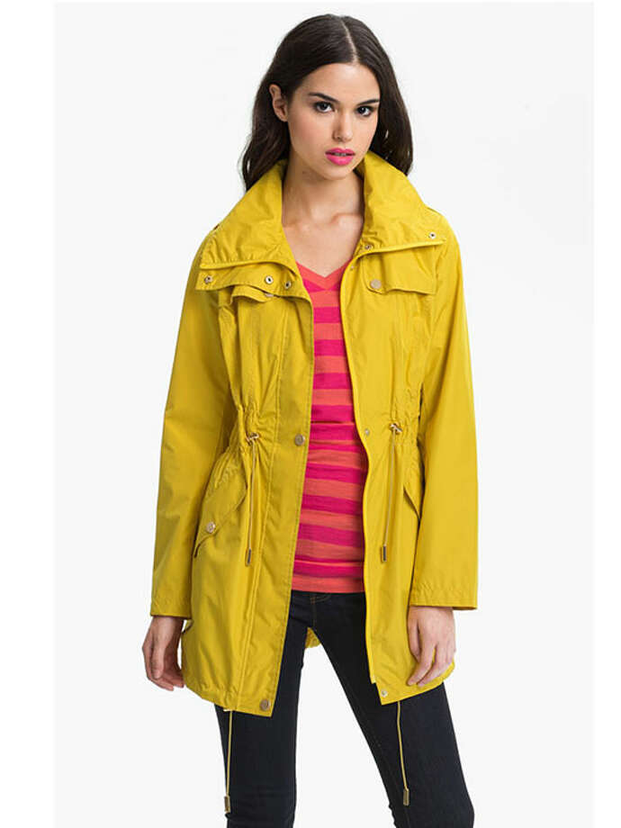 A fun and bright alternative to a classic trench, this cinched-waist, windproof coat is both lightweight and utilitarian. Kenneth Cole New York Ruched Waist Jacket, $108, Nordstrom. Photo: Contributed Photo