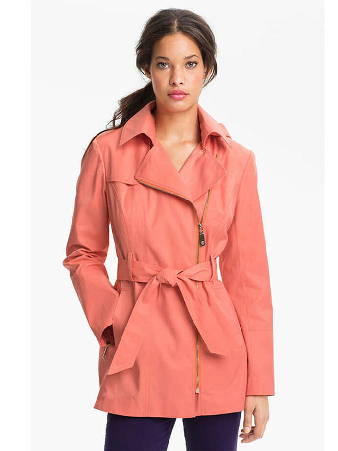 With moto-style zippers and a removable hood, this sleek trench will make you peachy keen on even the nastiest days. Vince Camuto Ashley Moto Trench Coat, $128, Nordstrom. Photo: Contributed Photo