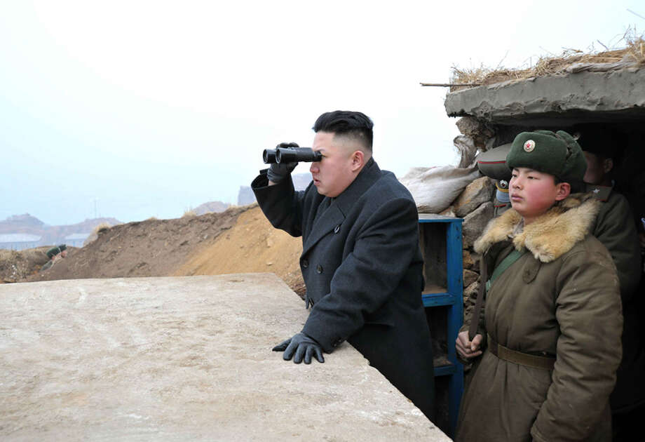 Like his father and his father before him, Kim Jong Un has made a career out of looking at stuff. That and being a dictator.Here is a our nod to (read rip-off of) the Kim Jong Il Looking At Things Tumblr. Photo: Uriminzokkiri's Flickr Stream