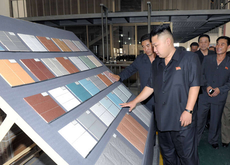 Kim Jong Un shopping for new bathroom tile. Photo: Uriminzokkiri's Flickr Stream