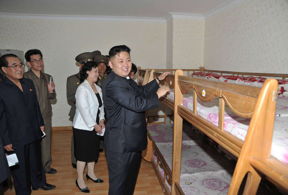Kim Jong Un reminiscing about his childhood bunkbed. Photo: Uriminzokkiri's Flickr Stream