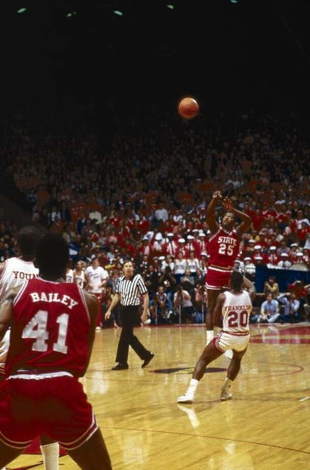 Dereck Whittenburg takes his memorable last second shot.