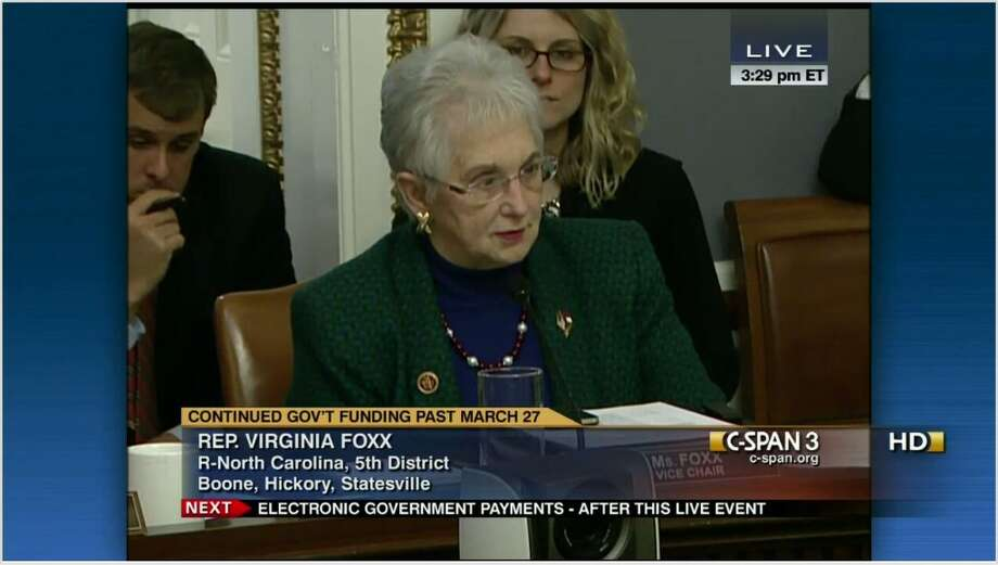 Rep. Virginia Foxx,R-N.C., delivered speeches on the House floor during 16 different days. Foxx earned a higher spot on the one-minute list and tied with Rep. Ted Poe and Rep. David Cicilline with seven one-minute speeches.