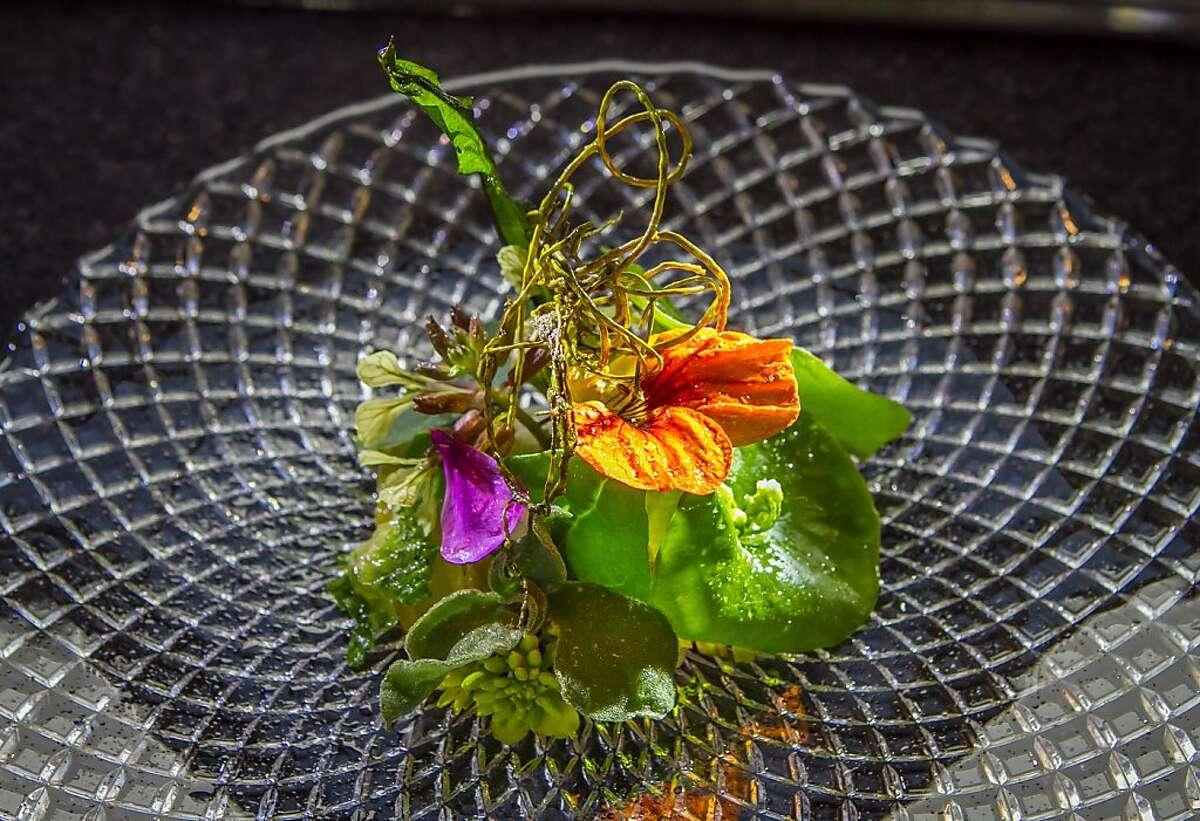 Bitter vegetables, nasturtium honey at Saison in San Francisco, Calif., is seen on Friday, March 29th, 2013.