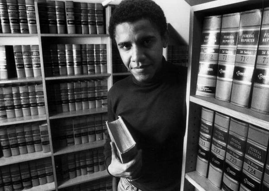 """Barack Obama in 1990 as editor of Harvard Law Review. Obama later taught constitutional law at the University of Chicago. As President, however, he has given precedence to national security over what he calls """"constitutional issues."""" Photo: Boston Globe Via Getty Images"""