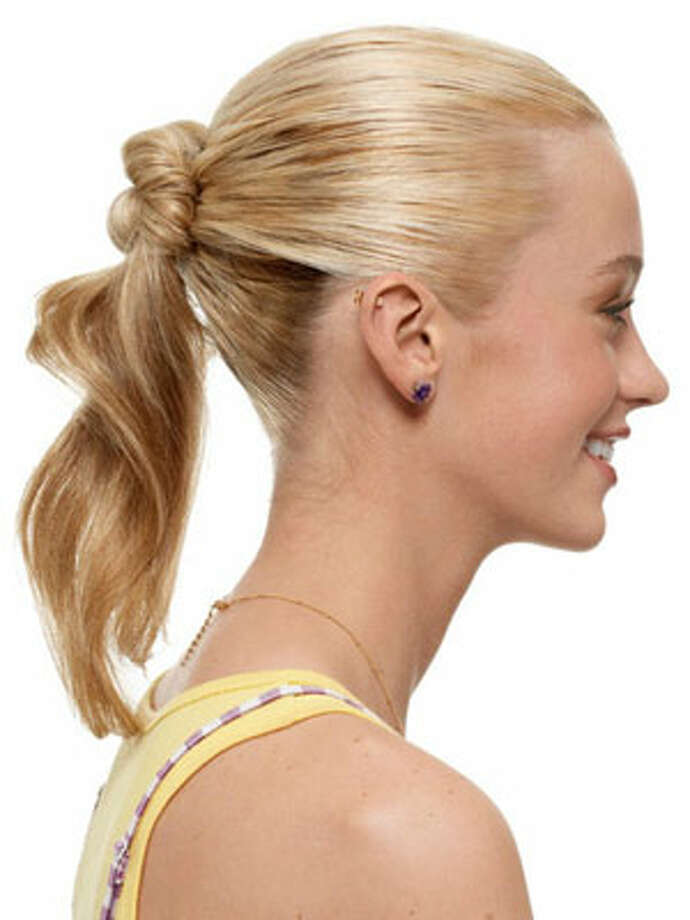 Pony BunHow to Get the Look:  As you get three-quarters of the way around, let the rest of your hair hang loose. Photo: Sarra Fleur Abou-El-Haj/Studio D / Hearst Communications Inc., 2009