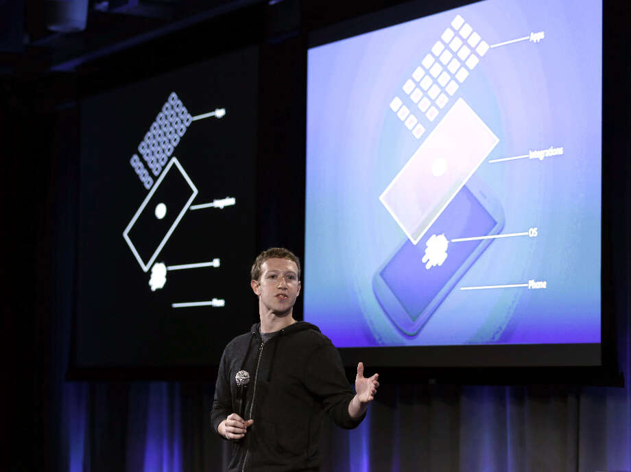 Facebook CEO Mark Zuckerberg speaks at the company\'s headquarters in Menlo Park, Calif., Thursday, April 4, 2013. Zuckerberg says the company is not building a phone or an operating system. Rather, Facebook is introducing  a new experience for Android phones. The idea behind the new Home service is to bring content right to you, rather than require people to check apps on the device.   (AP Photo/Marcio Jose Sanchez) Photo: Marcio Jose Sanchez, Associated Press / AP