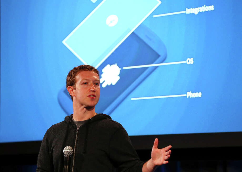 Facebook CEO Mark Zuckerberg speaks during an event at Facebook headquarters on April 4, 2013 in Menlo Park, California. Zuckerberg announced a new product for Android called Facebook Home. Photo: Justin Sullivan, Getty Images / 2013 Getty Images