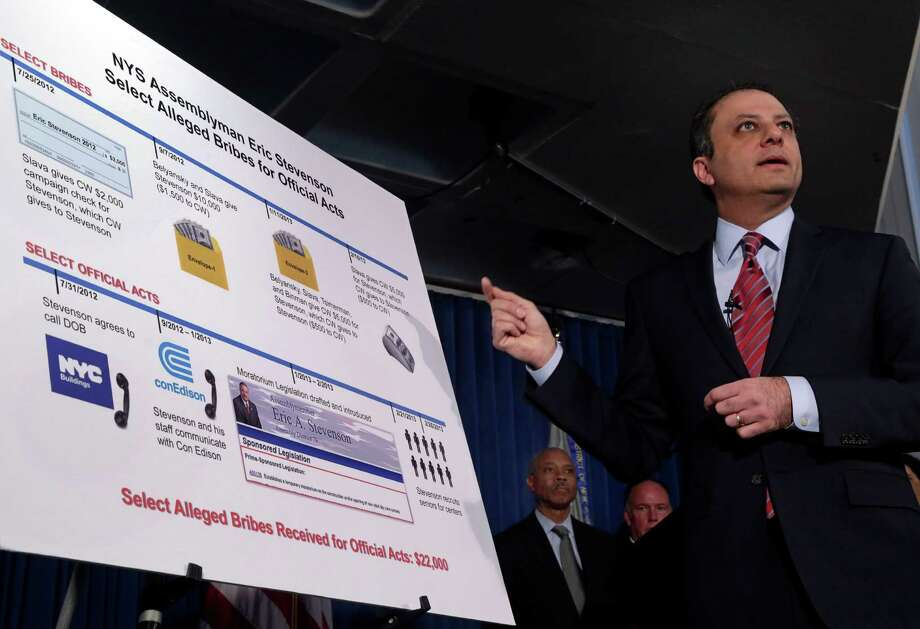 U.S. Attorney Preet Bharara gestures to a chart during a news conference in New York,  Thursday, April 4, 2013. New York state Assemblyman Eric Stevenson, a Democrat, was arrested in a bribery investigation that also led another state assemblyman charged with crimes to cooperate with the understanding that he would resign his position with the arrests of Stevenson and four other defendants.(AP Photo/Richard Drew) Photo: Richard Drew