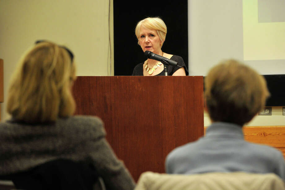 "Carol Wallace speaks during the Friends Author Series at the Ferguson Library in Stamford on Wednesday, April 3, 2013. Wallace is the co-author of the book ""To Marry an English Lord,"" which inspired the PBS series Downton Abbey. Photo: Jason Rearick / The (Stamford) Advocate"