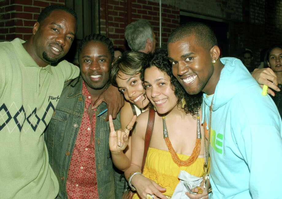 Malik Yoba, aka Ice, pictured on left in 2003 with Jeremy James, Rosario Dawson, guest and Kanye West. Photo: Johnny Nunez, Getty Images / WireImage