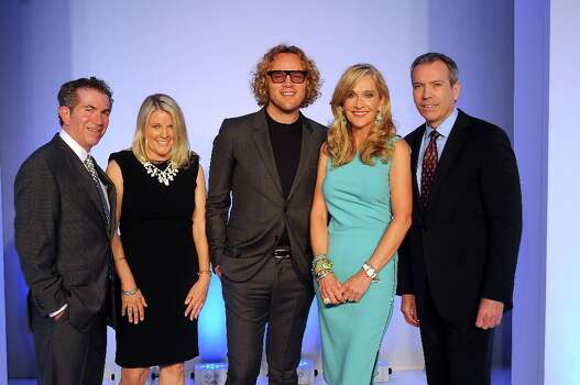 From left: The Chronicle\'s Jeff Cohen and Melissa Aguilar with Pucci designer Peter Dundas, chair Jana Arnoldy and Bob Devlin from Neiman Marcus at the annual Houston Chronicle\'s Best Dressed Luncheon at the Westin Galleria Hotel Tuesday April 3, 2013.(Dave Rossman photo) Photo: Dave Rossman, For The Houston Chronicle / © 2013 Dave Rossman