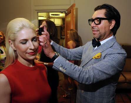 Ceron does some adjustments to honoree Isabel David\'s hair backstage at the annual Houston Chronicle\'s Best Dressed Luncheon at the Westin Galleria Hotel Tuesday April 3, 2013.(Dave Rossman photo) Photo: Dave Rossman, For The Houston Chronicle / © 2013 Dave Rossman