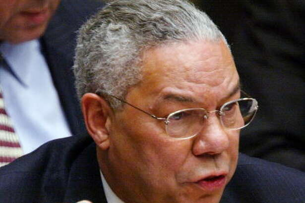 NEW YORK - FEBRUARY 5:  (FILE PHOTO) U.S. Secretary of State Colin Powell holds a vial representing the small amount of Anthrax that closed the U.S. Senate last year during his address to the UN Security Council February 5, 2003 in New York City. Powell was making a presentation attempting to convince the world that Iraq is deliberately hiding weapons of mass destruction. It was reported August 4, 2003 that Powell will step down if U.S. President George W. Bush is re-elected for another term.