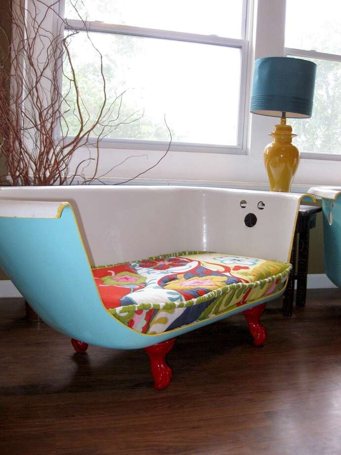 I spotted this repurposed tub on Pinterest.