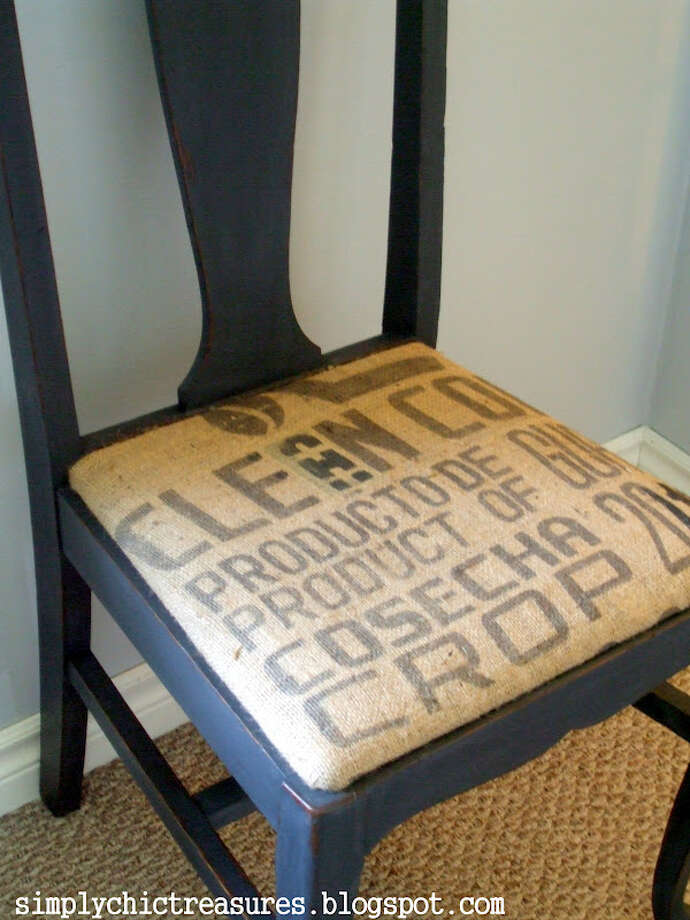 A burlap seat cover spruced up this old chair.  Photo: Picasa