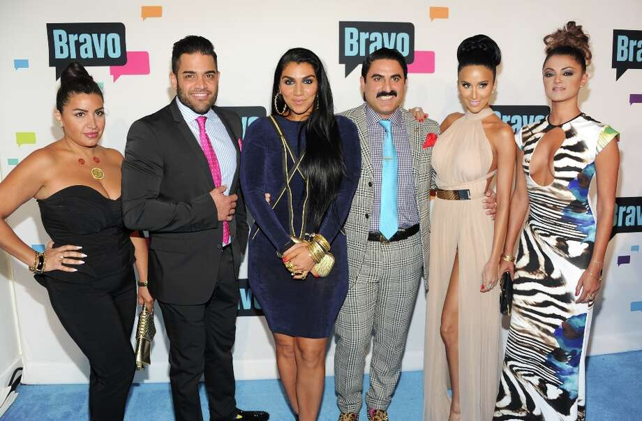 """Shahs of Sunset\"" cast members, from left, Mercedes \""MJ\"" Javid, Mike Shouhed, Asa Soltan Rahmati, Reza Farahan, Lilly Ghalichi and Golnesa \""GG\"" Gharachedaghi attend the Bravo Network 2013 Upfront on Wednesday April 3, 2013 in New York. (Photo by Evan Agostini/Invision/AP) Photo: Evan Agostini, Associated Press / Invision"