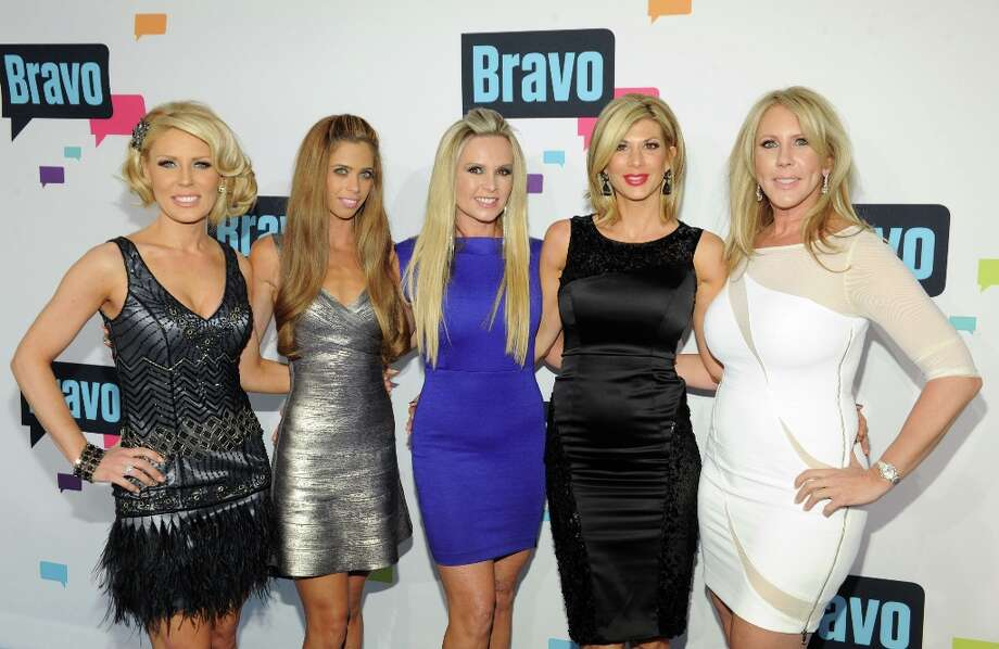 (L-R) Gretchen Rossi, Lydia McLaughlin, Tamra Barney, Alexis Bellino, and Vicki Gunvalson of \'The Real Housewives of Orange County\' attend the 2013 Bravo New York Upfront at Pillars 37 Studios on April 3, 2013 in New York City. Photo: Craig Barritt, Getty Images / 2013 Getty Images