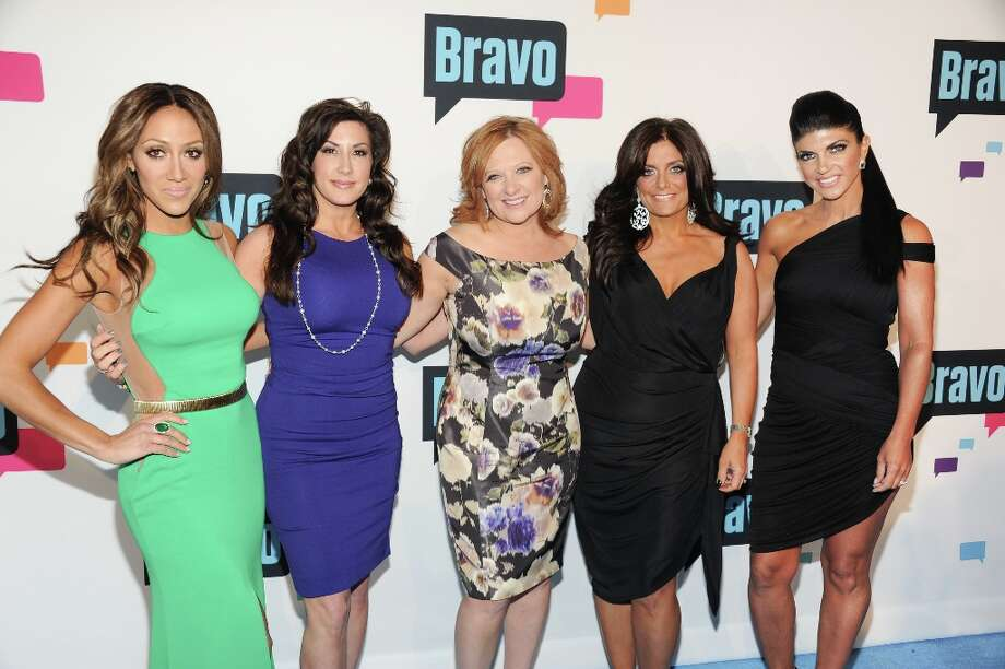 """The Real Housewives of New Jersey\"" cast members, from left, Melissa Gorga, Jacqueline Laurita, Caroline Manzo, Kathy Wakile and Teresa Giudice attend the Bravo Network 2013 Upfront on Wednesday April 3, 2013 in New York. (Photo by Evan Agostini/Invision/AP) Photo: Evan Agostini, Associated Press / Invision"