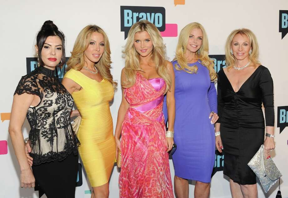 """The Real Housewives of Miami\"" cast members, from left, Adriana De Moura, Lisa Hochstein, Joanna Krupa, Alexis Echevarria and Lea Black attend the Bravo Network 2013 Upfront on Wednesday April 3, 2013 in New York. (Photo by Evan Agostini/Invision/AP) Photo: Evan Agostini, Associated Press / Invision"