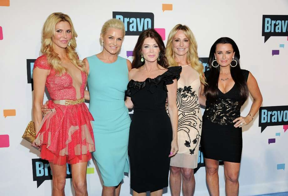 """The Real Housewives of Beverly Hills\"" cast members, from left, Brandi Glanville, Yolanda Foster, Lisa Vanderpump, Taylor Armstrong and Kyle Richards attend the Bravo Network 2013 Upfront on Wednesday April 3, 2013 in New York. (Photo by Evan Agostini/Invision/AP) Photo: Evan Agostini, Associated Press / Invision"