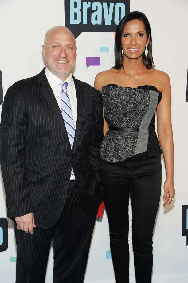 """Tom Colicchio and Padma Lakshmi from \""""Top Chef\"""" attend the Bravo Network 2013 Upfront on Wednesday April 3, 2013 in New York. (Photo by Evan Agostini/Invision/AP) Photo: Evan Agostini, Associated Press / Invision"""