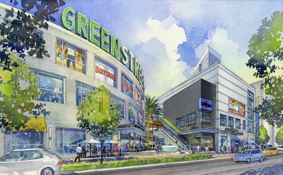 GreenStreet will have a big new sign sporting its new name. Formerly called Houston Pavilions, the downtown mixed-use development is bounded by Main, Polk, Dallas and Caroline.GreenStreet will have a big new sign sporting its new name. Formerly called Houston Pavilions, the downtown mixed-use development is bounded by Main, Polk, Dallas and Caroline. Photo: Corutesy Rendering