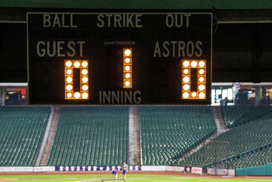 The scoreboards read all zeros before the start of a new season before the Astros play the Rangers in the season opener. Photo: Smiley N. Pool, Houston Chronicle / © 2013  Smiley N. Pool
