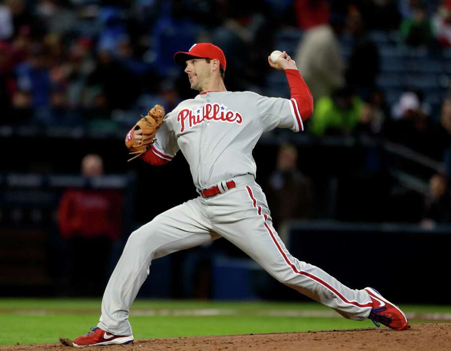 Philadelphia Phillies starting pitcher Cliff Lee throws in the first inning of a baseball game against the Atlanta Braves, Thursday, April 4, 2013, in Atlanta. (AP Photo/David Goldman) Photo: David Goldman