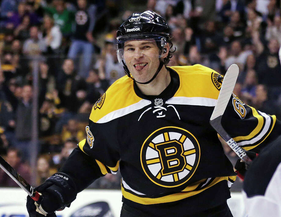 Jaromir Jagr, traded to Boston from Dallas on Wednesday, scored the game's only goal in his Bruins debut Thursday night - a 1-0 win over visiting New Jersey. Photo: Charles Krupa, STF / AP