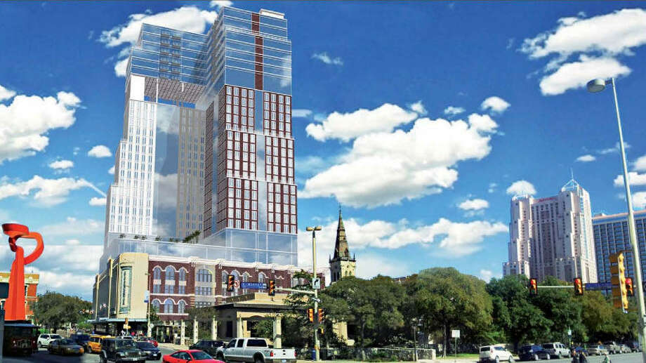 This is an artist's rendering of what the proposed tower could look like atop the Joske's building at Alamo and Commerce. Photo: S.A. Partnership Architects