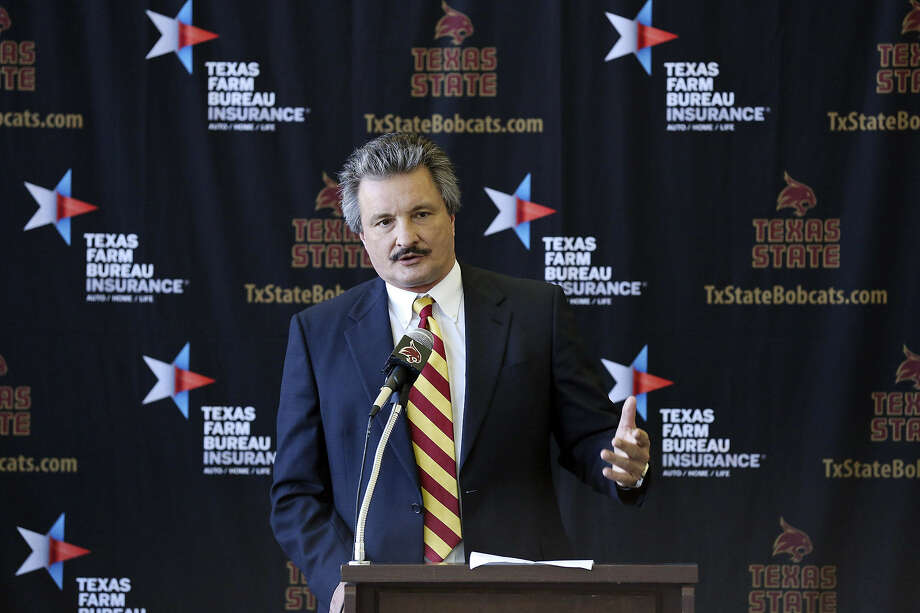 New Texas State basketball coach Danny Kaspar, who started his career at UIW, speaks Thursday. He led SFA to a 27-5 record and the NIT this past season. Photo: Edward A. Ornelas / San Antonio Express-News