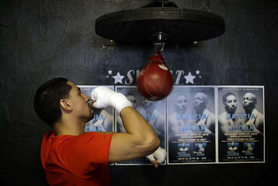 Boxer Danny Garcia practices during a media workout, Thursday, April 4, 2013, in Philadelphia. Garcia is schedule to fight Zab Judah on April 27 in New York. (AP Photo/Matt Rourke) Photo: Matt Rourke, Associated Press