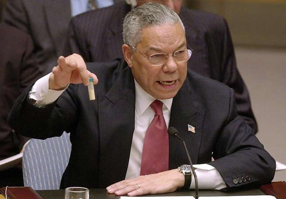 2. 44 percent of voters believe that George W. Bush intentionally lied about Iraq possessing weapons of mass destruction in order to lead the nation to war against Saddam Hussein.  Colin Powell warns the UN that Iraq could have anthrax in the lead up to the war. Photo: Elise Amendola, AP / AP2003