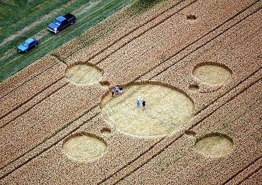 4. 29 percent of voters believe aliens exist and that governments around the world are covering up evidence of it.  Photo of crop circles. (AP Photo)