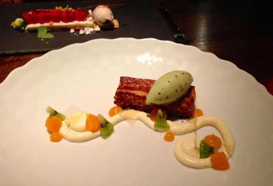 Persimmon pain perdu with kiwi sorbet at Fifth Floor