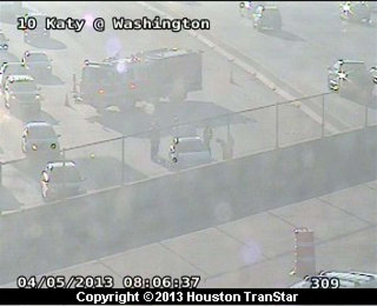 Traffic was slowed on the westbound Katy Freeway near Washington after a crash Friday moring.