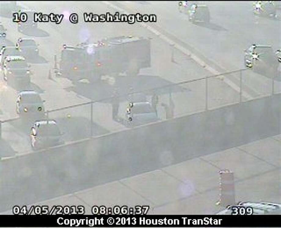 Traffic was slowed on the westbound Katy Freeway near Washington after a crash Friday moring. Photo: Houston Transtar