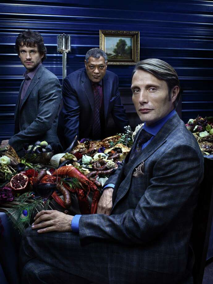 "Mads Mikkelsen (right) is the title character in ""Hannibal."" Hugh Dancy (left) and Laurence Fishburne also star. Photo: NBC"
