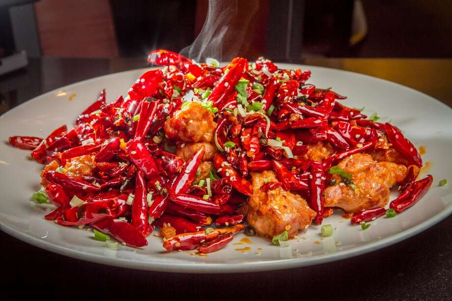 Chicken with Explosive Chili Pepper at Chili House. ($10.95)