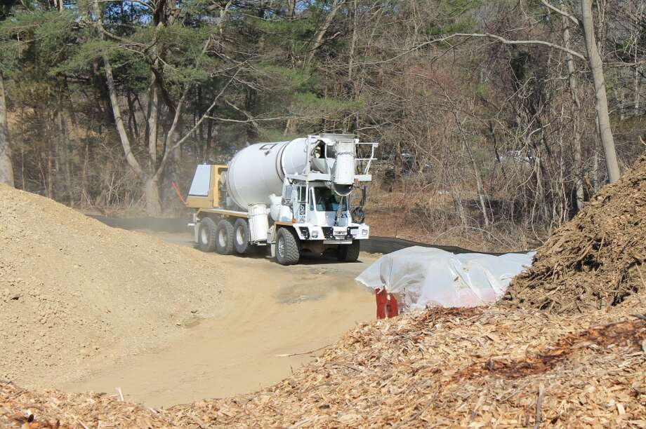 The first cement truck arrives -- Friday, April 5, 2013